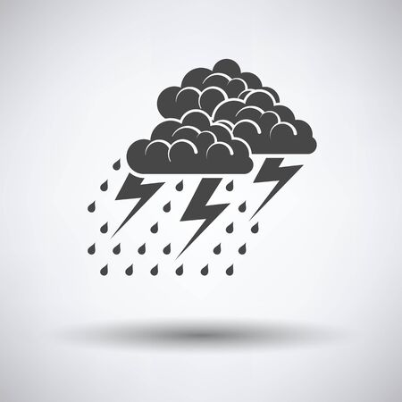 Thunderstorm icon on gray background with round shadow. Vector illustration.