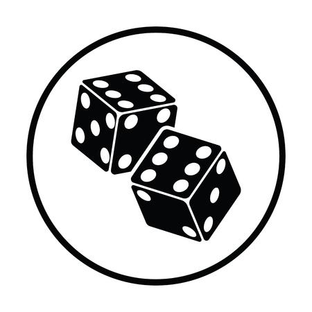 craps: Craps dice icon. Thin circle design. Vector illustration.
