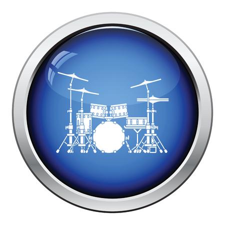drum set: Drum set icon. Glossy button design. Vector illustration.