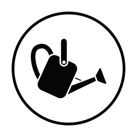 Watering can icon. Thin circle design. Vector illustration. Illustration