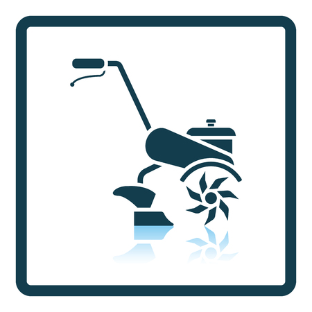 tillage: icono de timón jardín. diseño de la sombra reflexión. Ilustración del vector. Vectores
