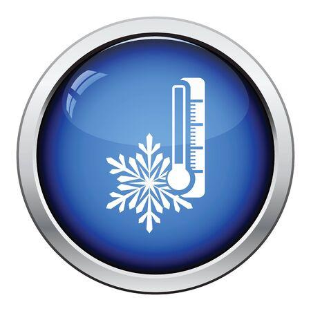 snow drift: Winter cold icon. Glossy button design. Vector illustration.