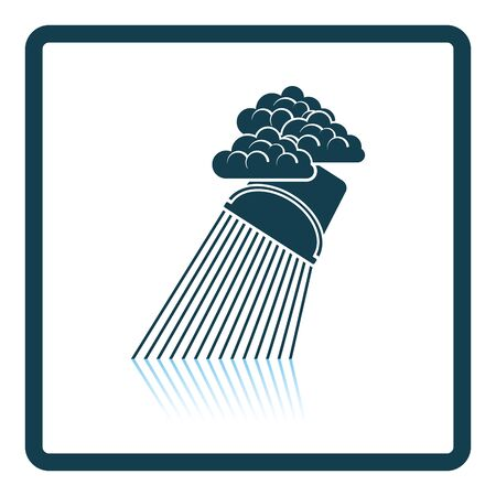 raincloud: Rainfall like from bucket icon. Shadow reflection design. Vector illustration.
