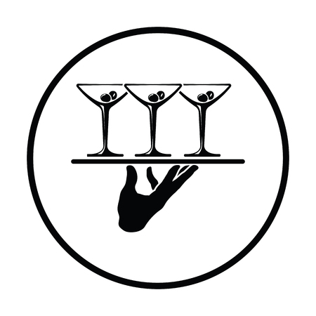 cocktail glasses: Waiter hand holding tray with martini glasses icon. Thin circle design. Vector illustration.