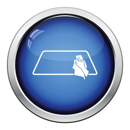 Wipe car window icon. Glossy button design. Vector illustration.