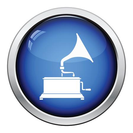 restored: Gramophone icon. Glossy button design. Vector illustration.