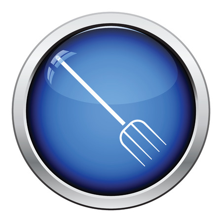 hayfork: Pitchfork icon. Glossy button design. Vector illustration. Illustration