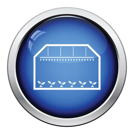 greenhouse: Greenhouse icon. Glossy button design. Vector illustration.
