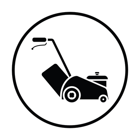 Lawn mower icon. Thin circle design. Vector illustration. Illustration