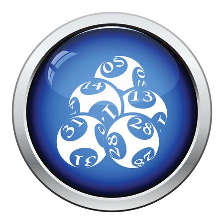lotto: Lotto balls icon. Glossy button design. Vector illustration.