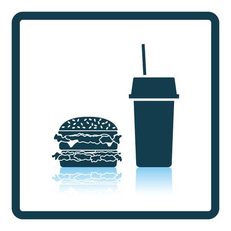 unhealth: Fast food icon. Shadow reflection design. Vector illustration.