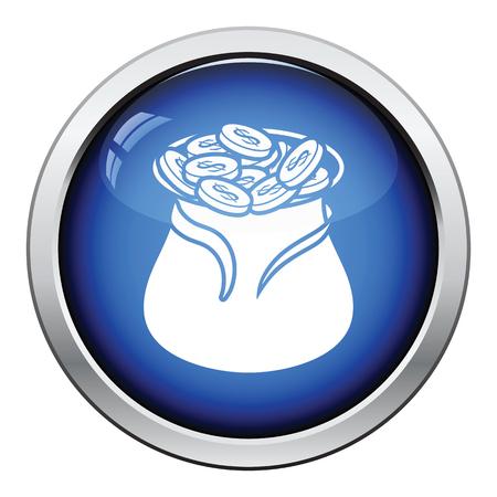 money button: Open money bag icon. Glossy button design. Vector illustration.