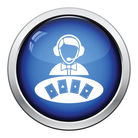 dealer: Casino dealer icon. Glossy button design. Vector illustration. Illustration