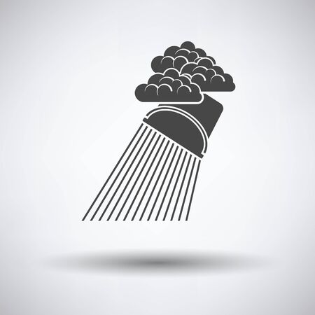raincloud: Rainfall like from bucket icon on gray background with round shadow. Vector illustration.