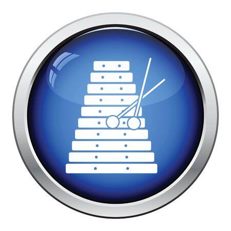 xilofono: icono xil�fono. Dise�o brillante del bot�n. Ilustraci�n del vector.