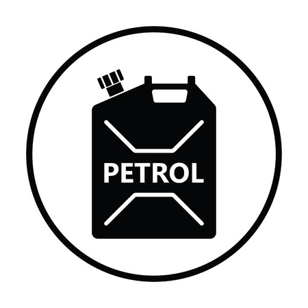 canister: Fuel canister icon. Thin circle design. Vector illustration. Illustration