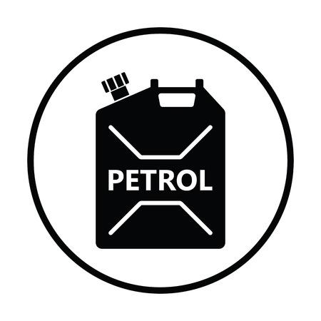 gallon: Fuel canister icon. Thin circle design. Vector illustration. Illustration