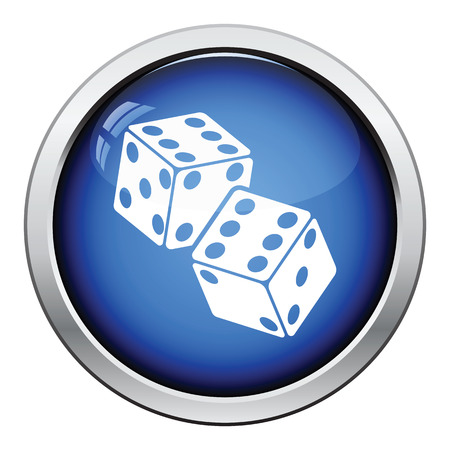 craps: Craps dice icon. Glossy button design. Vector illustration.