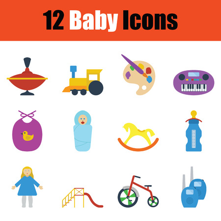 bootees: Baby icon set. Color flat design. Vector illustration.