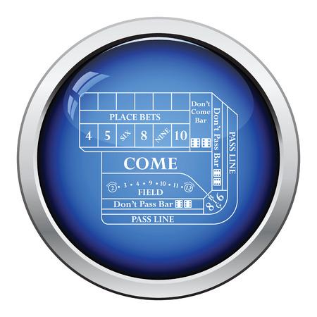 Craps table icon. Glossy button design. Vector illustration.