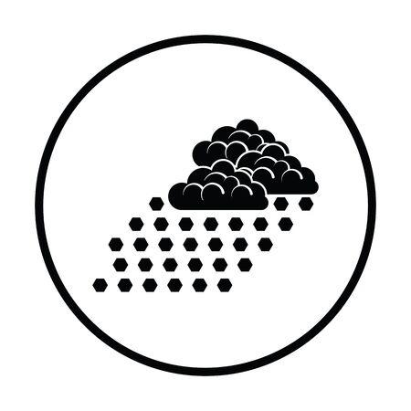 Hail icon. Thin circle design. Vector illustration.