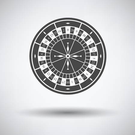 roulette online: Roulette wheel icon on gray background with round shadow. Vector illustration.