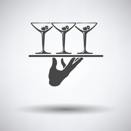 coquetel: Waiter hand holding tray with martini glasses icon on gray background with round shadow. Vector illustration.
