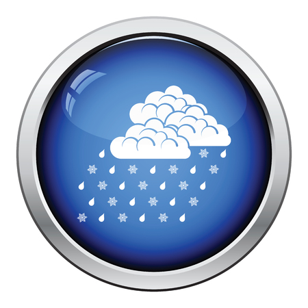 glossy button: Rain with snow icon. Glossy button design. Vector illustration. Illustration