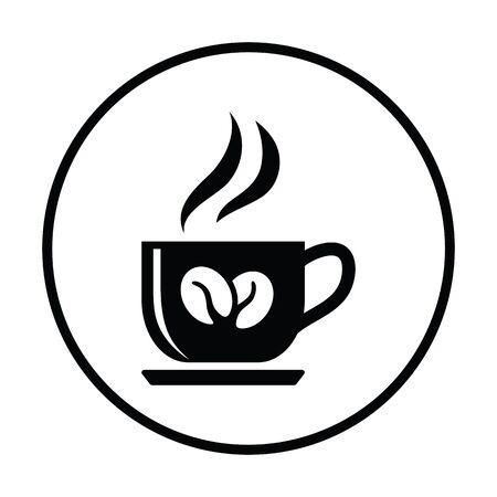 Coffee cup icon. Thin circle design. Vector illustration. Illustration