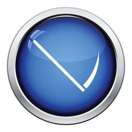 guadaña: icono de la guadaña. Diseño brillante del botón. Ilustración del vector.