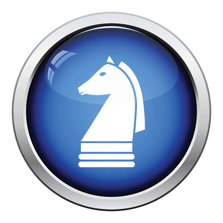 chess horse: Chess horse icon. Glossy button design. Vector illustration.