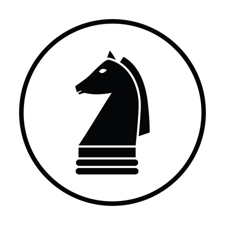 chess horse: Chess horse icon. Thin circle design. Vector illustration. Illustration