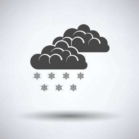 atmosfera: icono de la nieve en fondo gris con la sombra todo el año. Ilustración del vector.