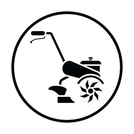 Garden tiller icon. Thin circle design. Vector illustration. Illustration