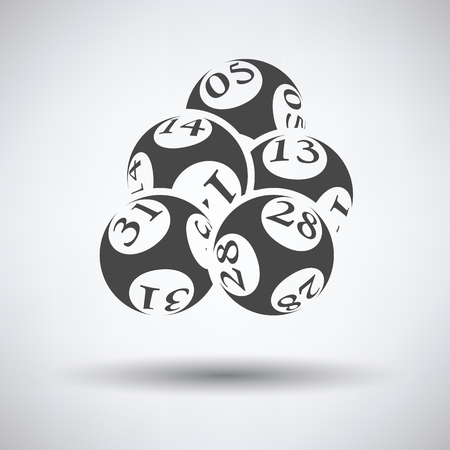 Lotto balls icon on gray background with round shadow. Vector illustration.