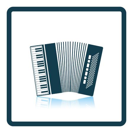 concertina: Accordion icon. Shadow reflection design. Vector illustration. Illustration