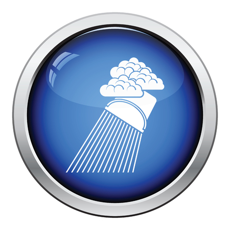 raincloud: Rainfall like from bucket icon. Glossy button design. Vector illustration. Illustration