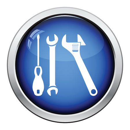 button: Wrench and screwdriver icon. Glossy button design. Vector illustration.