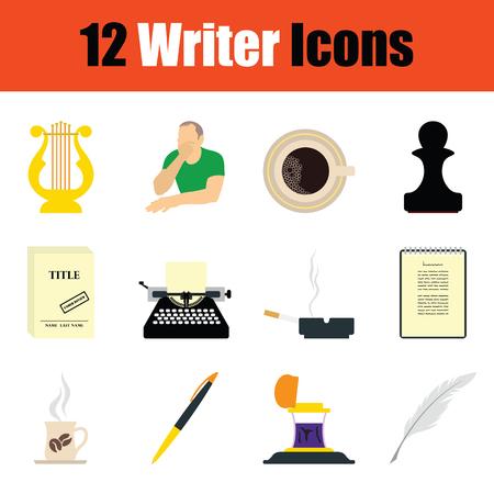 writer: Writer icon set. Color flat design. Vector illustration.