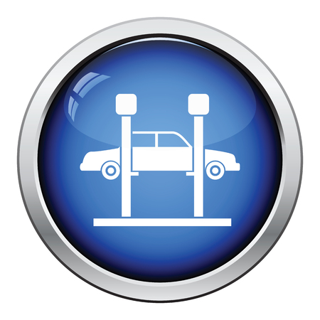 car lift: Car lift icon. Glossy button design. Vector illustration.