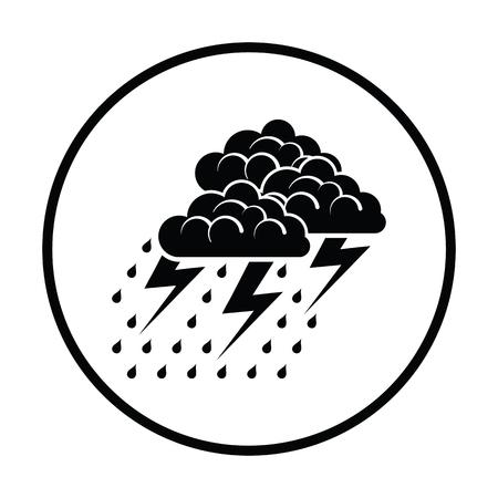 Thunderstorm icon. Thin circle design. Vector illustration.