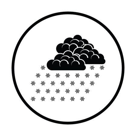blizzards: Snowfall icon. Thin circle design. Vector illustration. Illustration