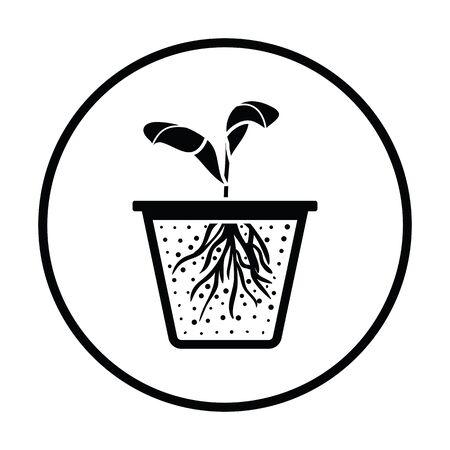 seedling: Seedling icon. Thin circle design. Vector illustration.