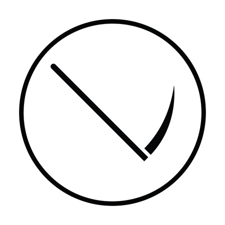 guadaña: icono de la guadaña. diseño del círculo delgada. Ilustración del vector.
