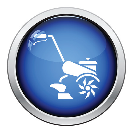 cultivator: Garden tiller icon. Glossy button design. Vector illustration. Illustration
