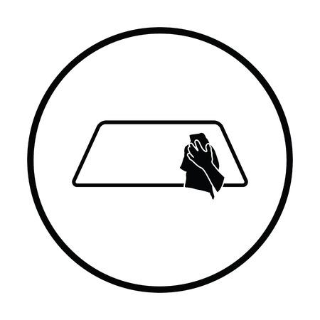 wipe: Wipe car window icon. Thin circle design. Vector illustration.