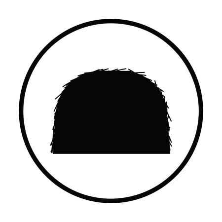 Hay stack icon. Thin circle design. Vector illustration. Illustration