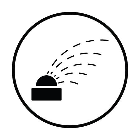garden maintenance: Automatic watering icon. Thin circle design. Vector illustration.