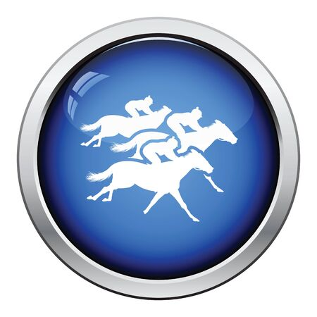 hippodrome: Horse ride icon. Glossy button design. Vector illustration. Illustration