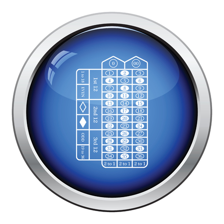 money sphere: Roulette table icon. Glossy button design. Vector illustration.